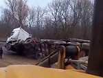 Tipper Truck Has A Bad Reaction To An Uneven Load