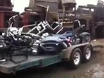 Trailer Load Of Custom Bikes Taken To The Scrap Yard For Crushing WTF