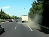Truck Tyre Blows And Spectacularly Crashes