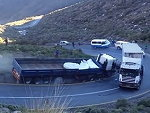 Unlucky Chain Of Events And Trucks Collide On A Sharp Turn